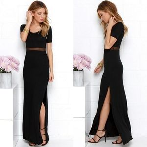 Lulu's Mesh Sheer Panel Waist Black Maxi Dress